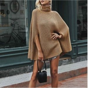 Brown Knit Dolman Style Turtle Neck Sweater Cape